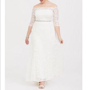 Ivory lace off the shoulder dress